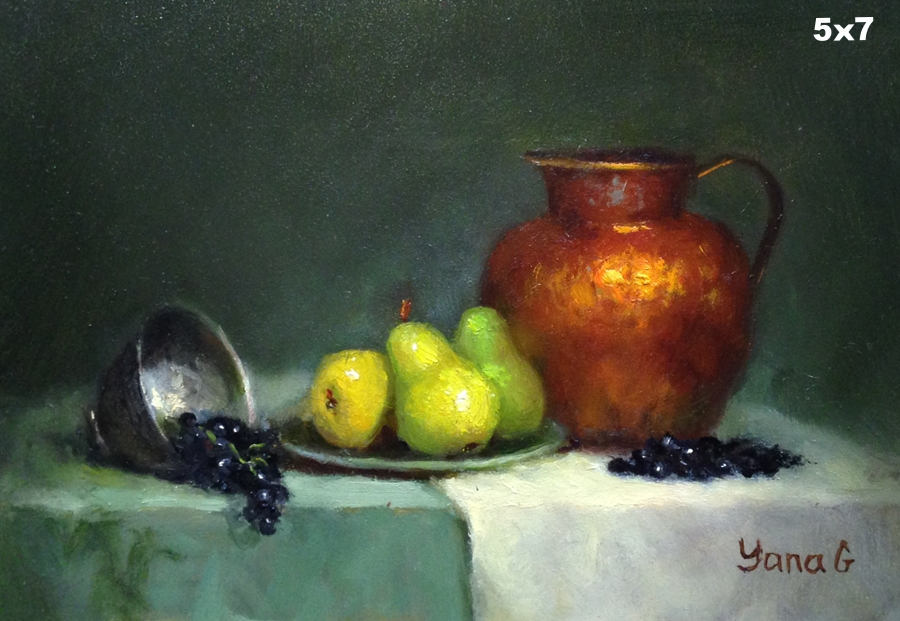 Copper pitcher and pears 5x7 Oil on board