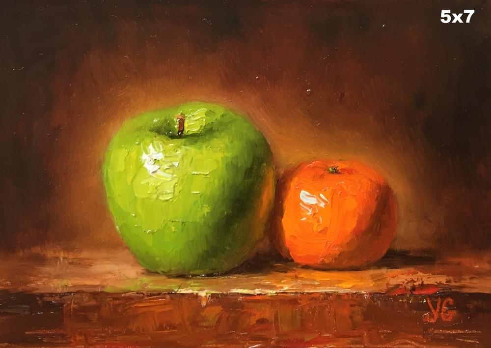 Apple and mandarin 5x7 Oil on board