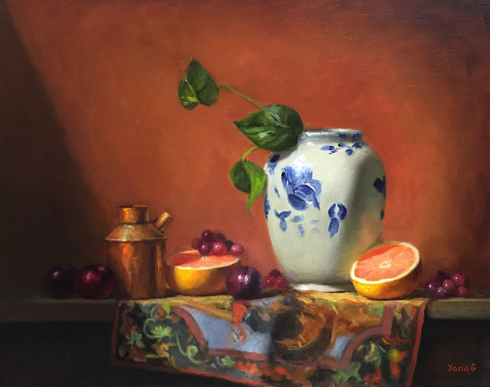 Still Life with Chinese Vase and Grapefruit 16x20 Oil on linen