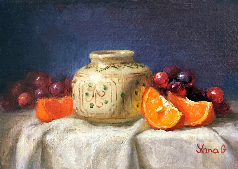 Still life with Orange Slices and vase 5X7 Oil on linen