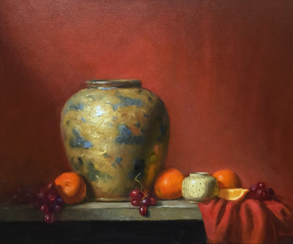 Old vase and oranges 16x20 Oil on canvas