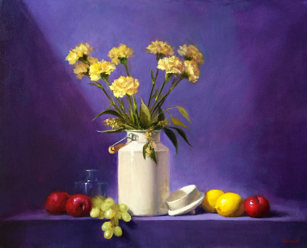 Carnations 16x20 Oil on linen canvas