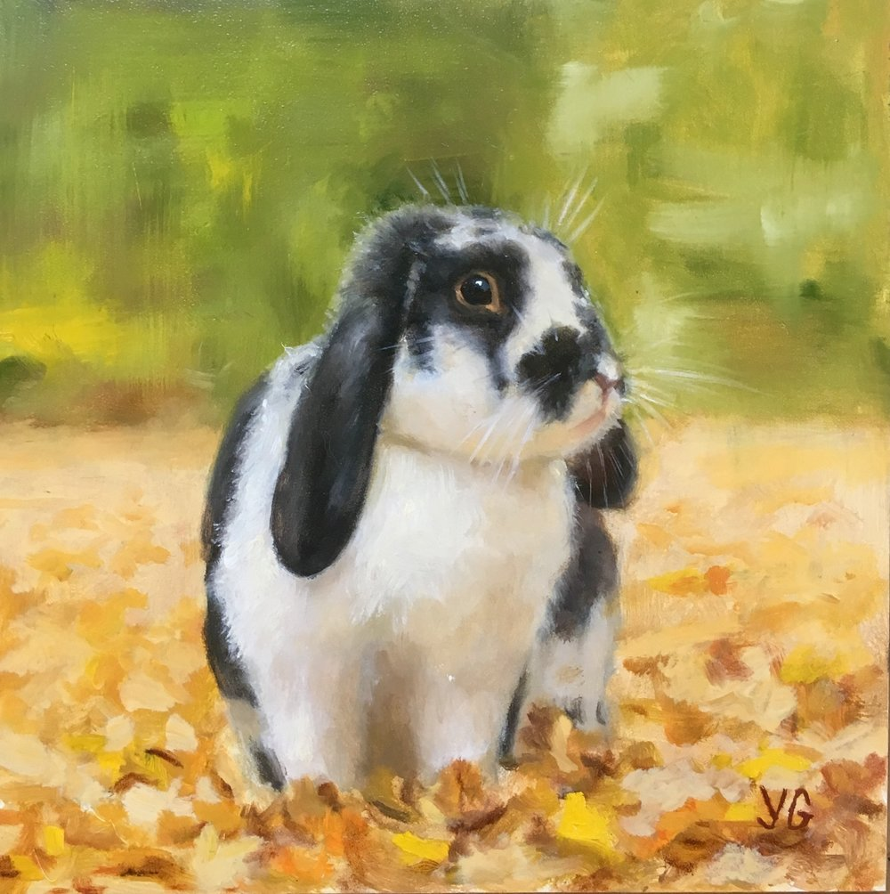 Enjoying the Fall 6x6 Oil on board