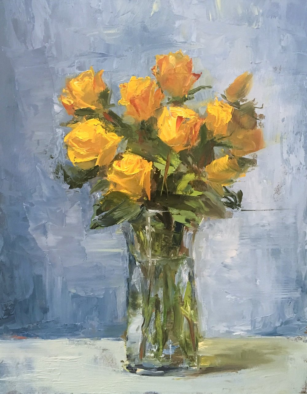 Yellow Roses 8x10 Oil on board
