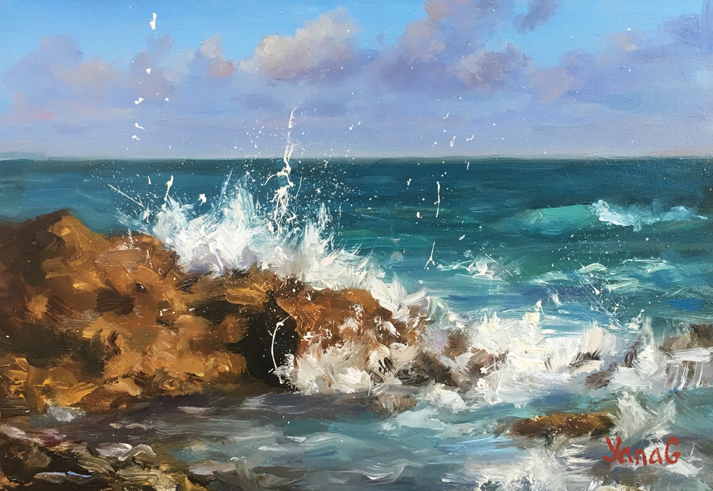 Waves 5x7 Oil on board