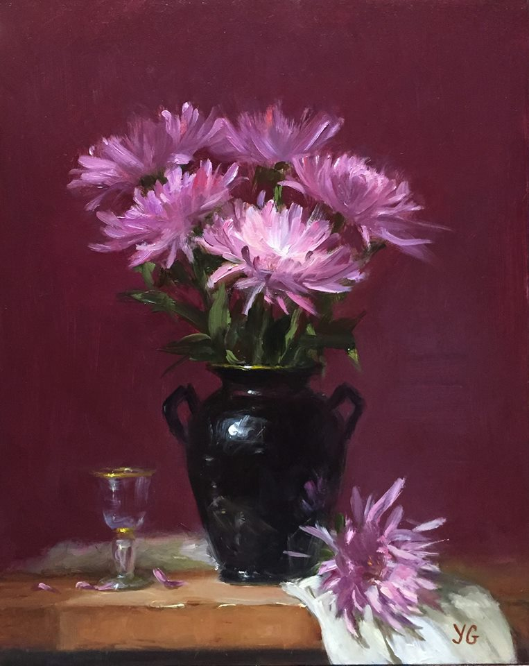 Mums 8x10 Oil on board