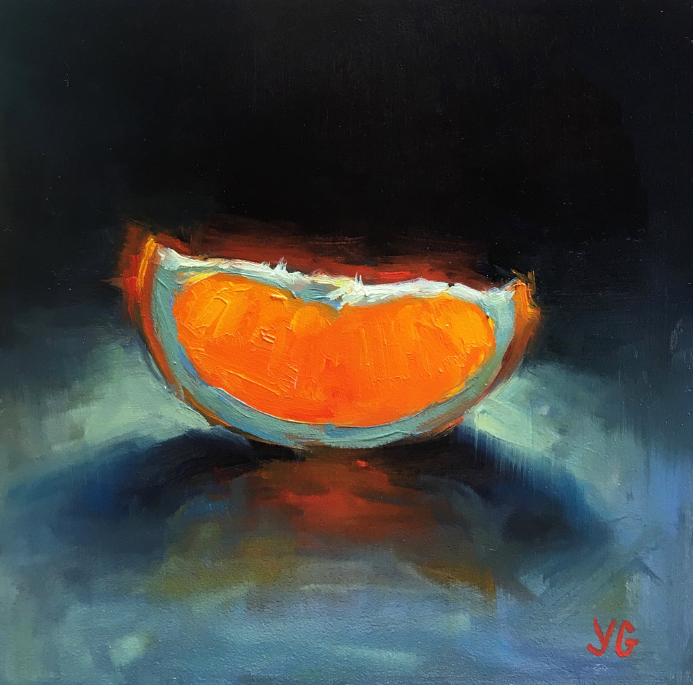 Orange Slice. Oil on board. 5*5in