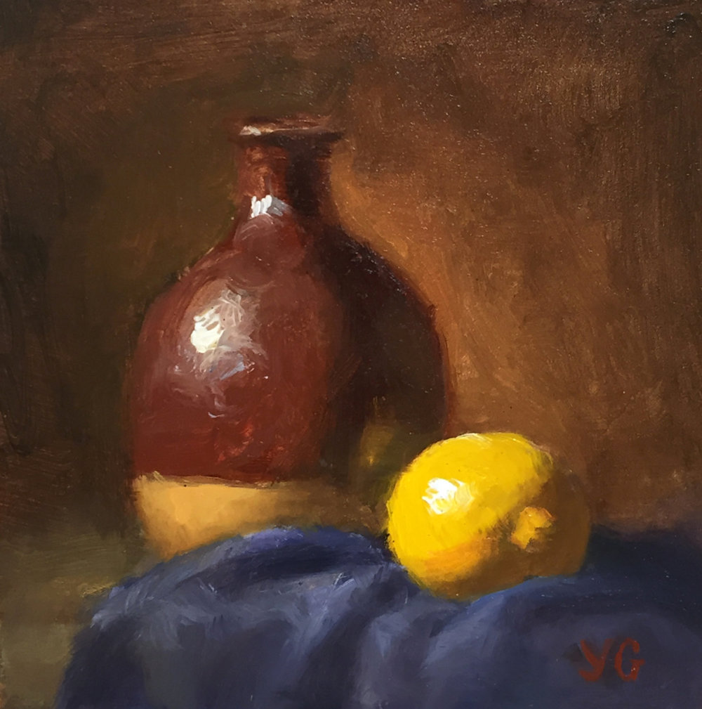 Small Vase and Lemon 5x5 Oil on board