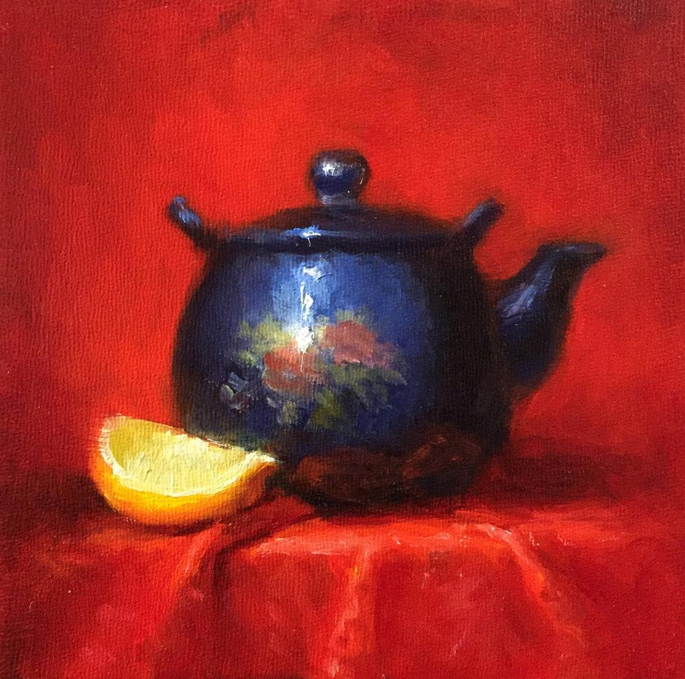 Teapot and Lemon 6x6 Oil on board
