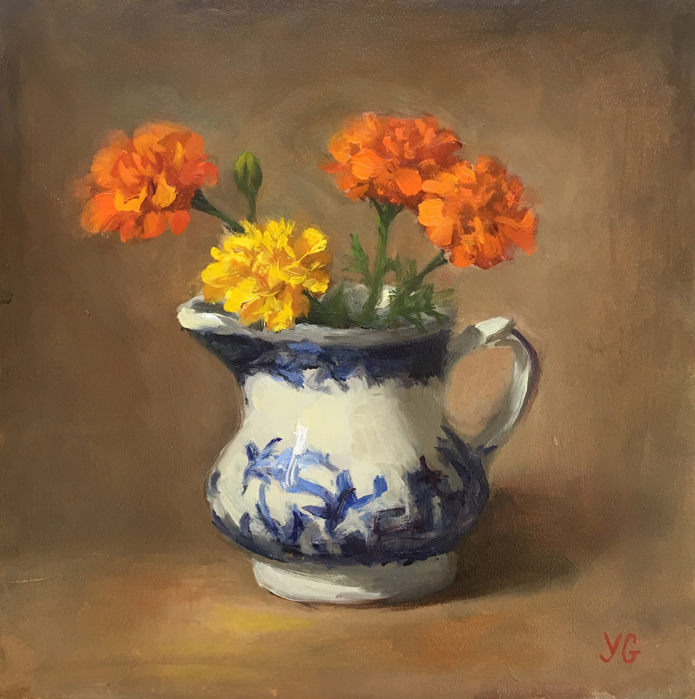 Marigold Flowers 6x6 Oil on board