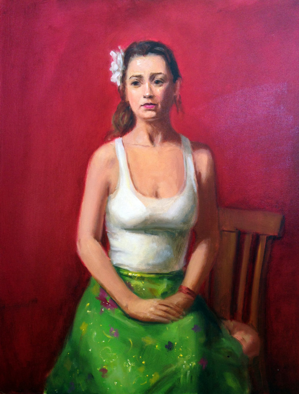 Woman in a Green Skirt 14x16 Oil on canvas