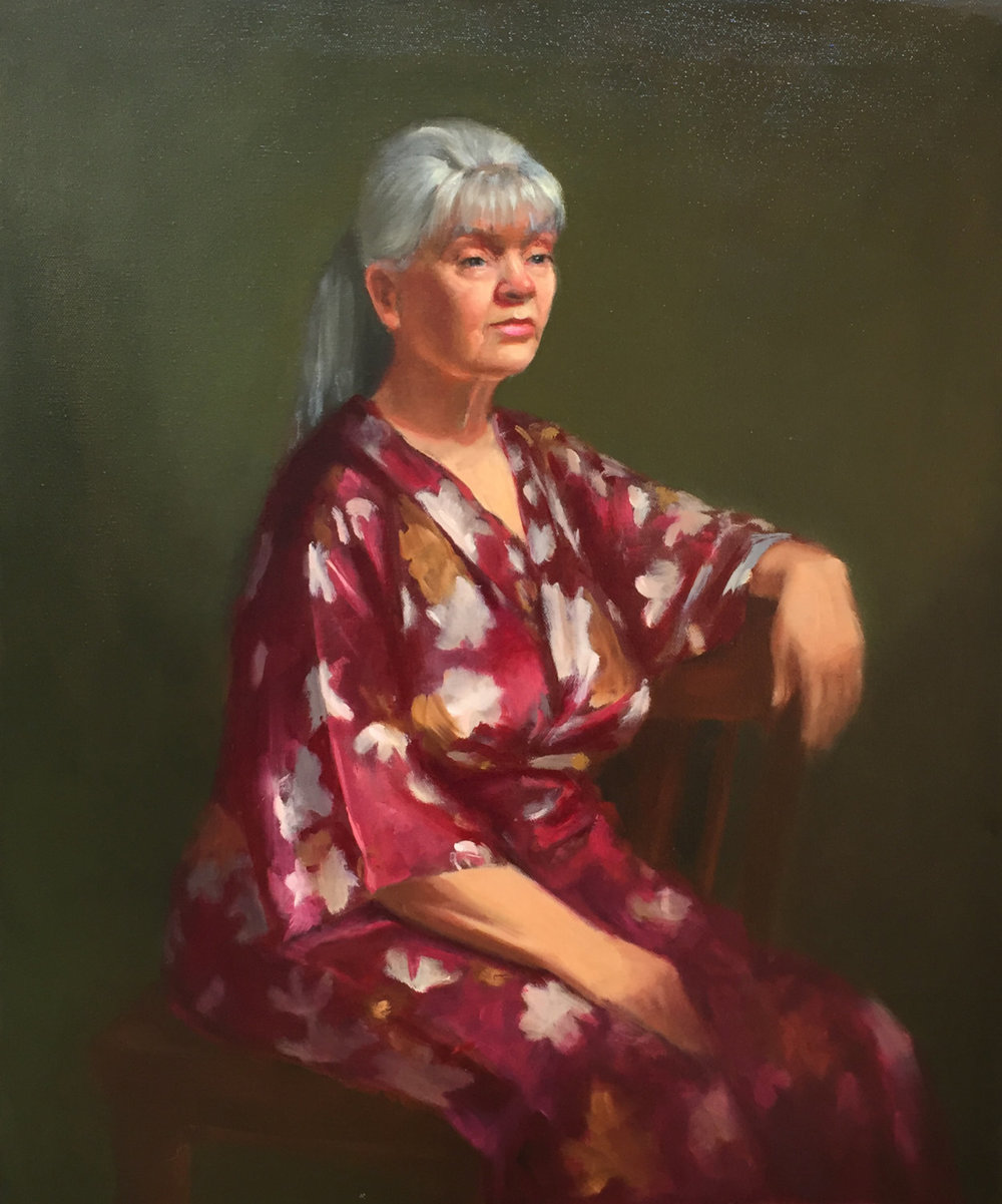 Woman in the robe 20x24 Oil on canvas