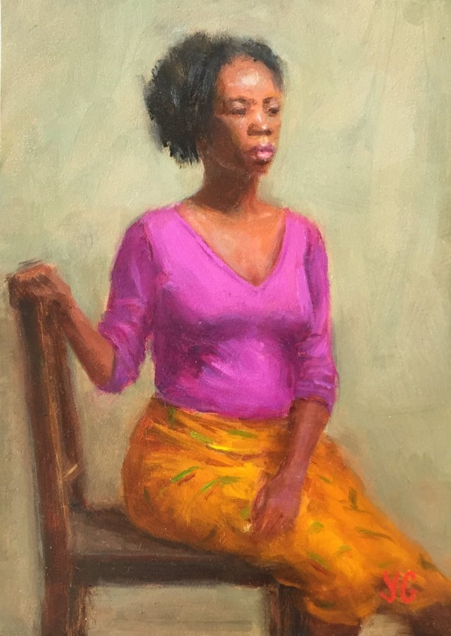 African-american woman 5x7 Oil on board