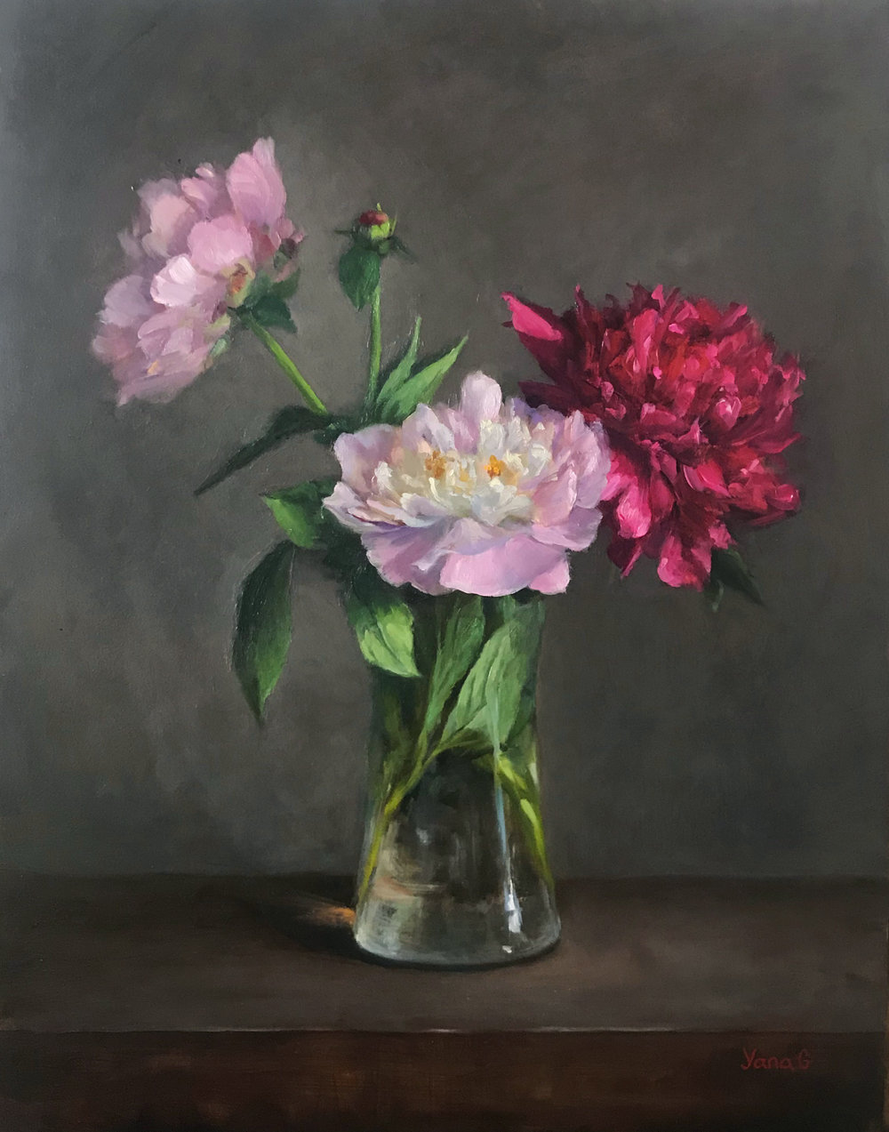 Peonies in the vase 11x14 Oil on board