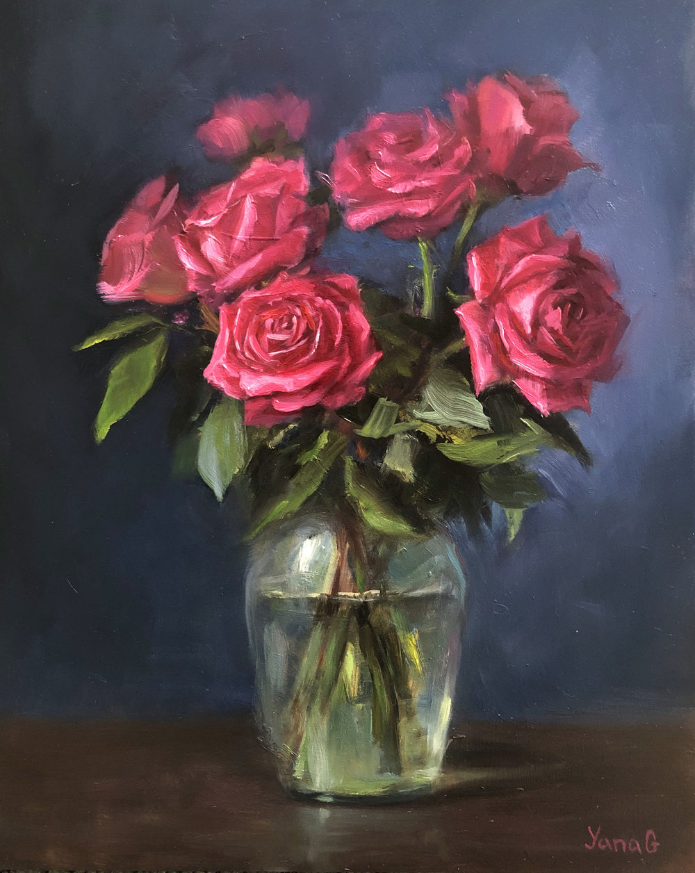 Pink Roses 10x10 Oil on board