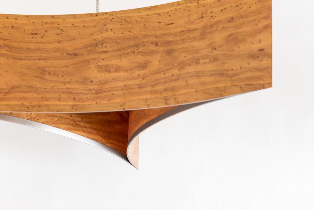 Flow Pendant   Materials: Macrocarpa / Oak / Carbon Fibre veneer  Size: Light Source: x1 LED Bulb  Enquire for price   Handcrafted in New Zealand