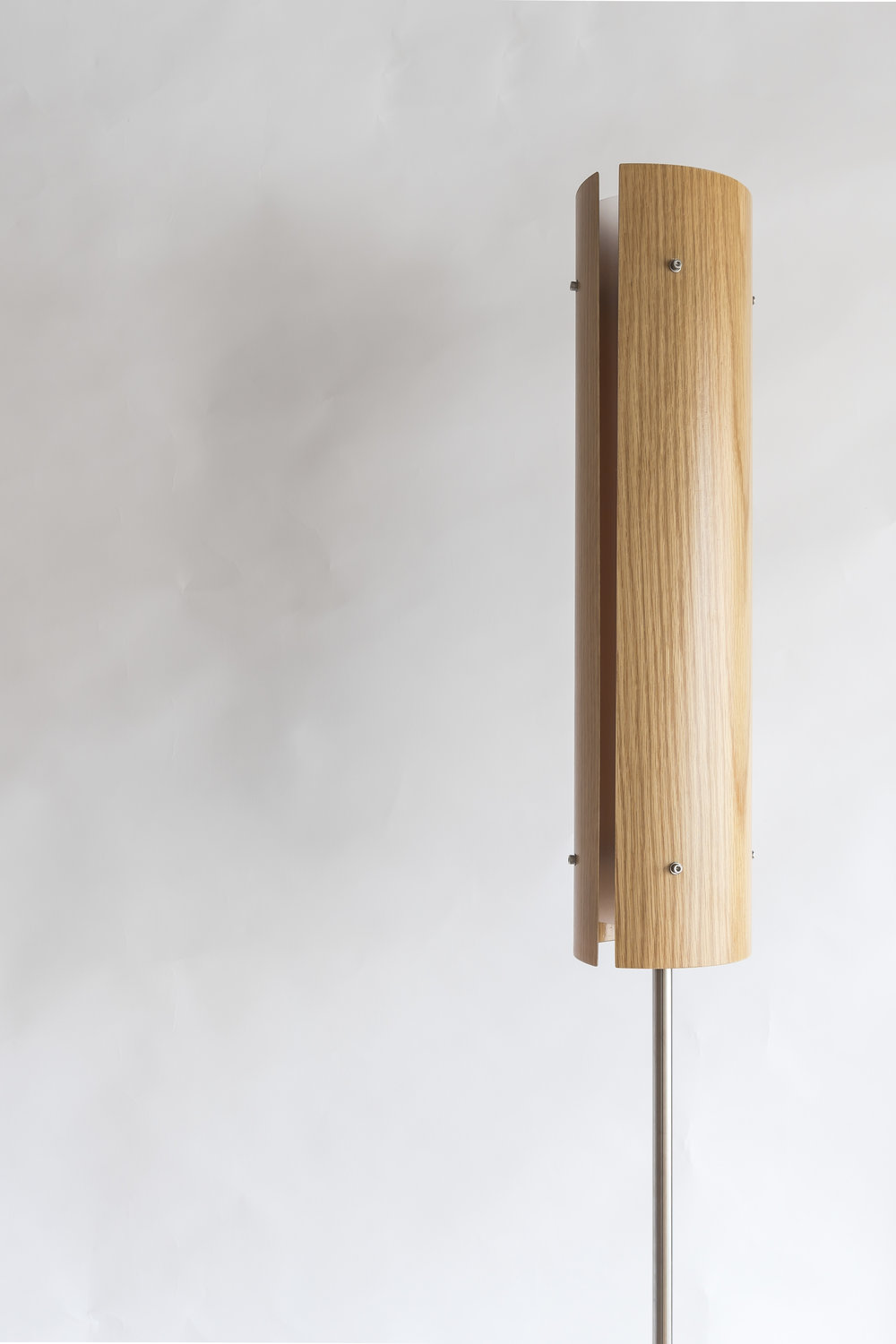 Ra 2 EX Standard lamp Materials: Oak / Macrocarpa / Custom - Stainless stand Size: 1800mm Light source: x2 LED bulbs Enquire for price Handcrafted in New Zealand