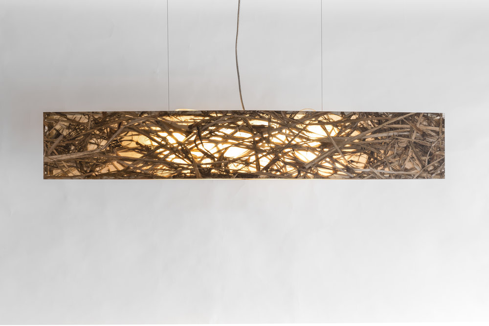 Blade Materials:NZ Ti Kouka leaf (Cabbage tree leaf) Stainless frame Size - 1200mm Light source: x3 LED bulbs Enquire for price Handcrafted in New Zealand