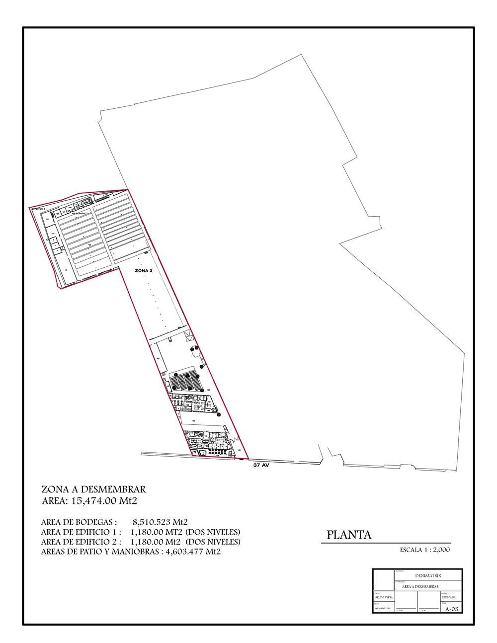 Alquilo propiedad en zona 7. 2 bodegas con área de 8,510.53 m2, 2 Edificios de 2 niveles con área de 1,180 m2 cada uno, y patios de maniobra y parqueos con área de 4,602.48 m2. Precio de renta $2.70+iva por m2. Información a miltonguerra@inpsa.com.gt. **IDEAL MAQUILA** **IDEAL FABRICA**