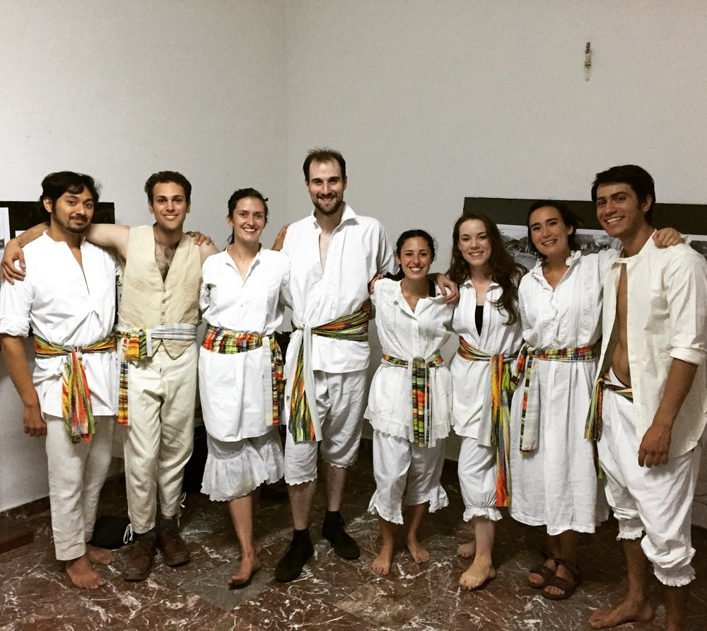 The company wears authentic 20th century peasant garments for their performance at the Museum of Sicilian Costume & Fashion in Mirto