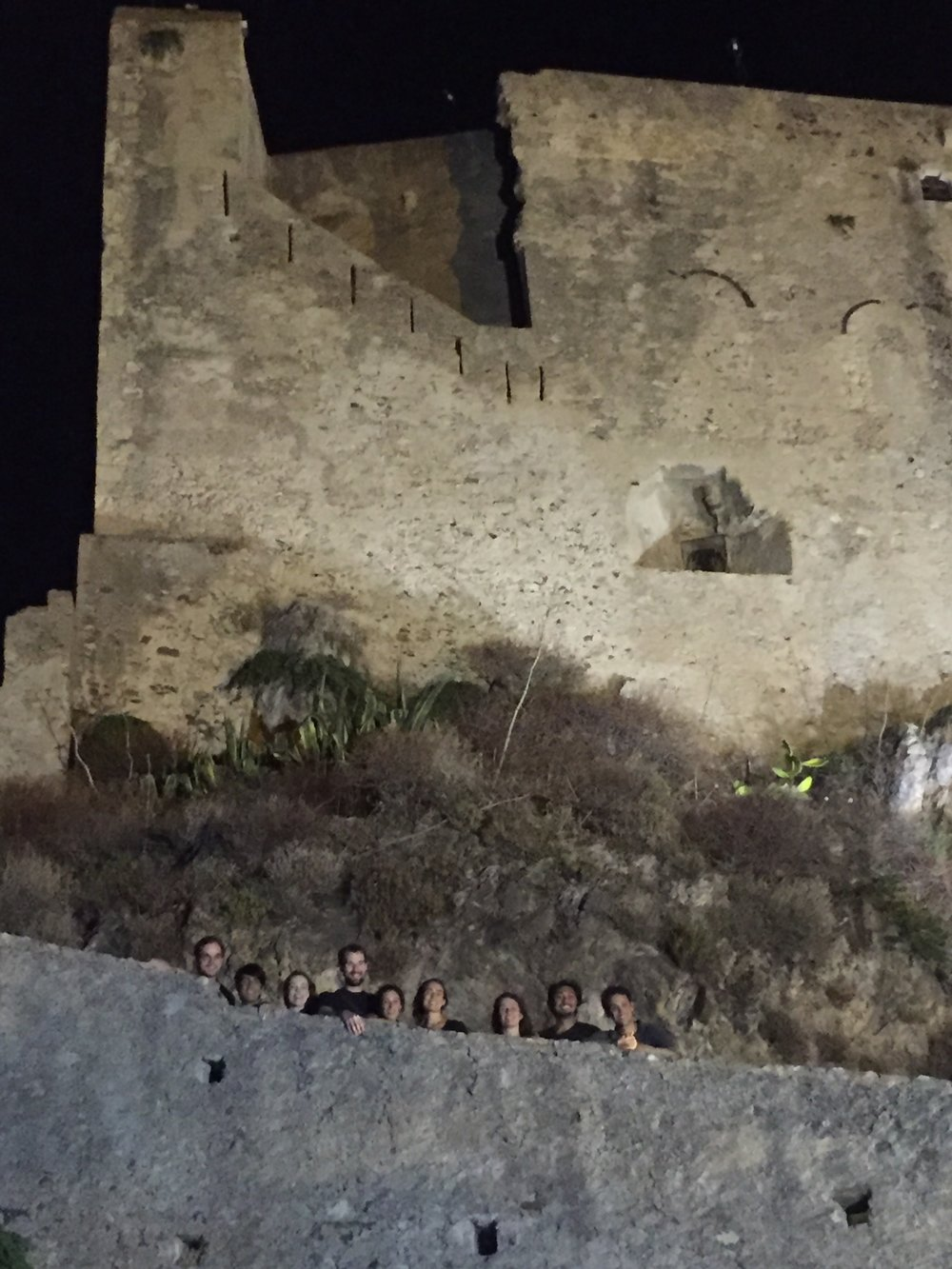 Company members say goodbye to Sicily after their final performance for the summer at Castello Rufo Ruffo in Scaletta Zanclea