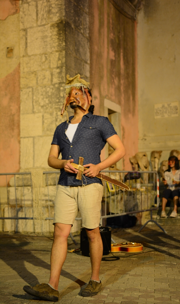 Trinacria Theatre Company member Sean Devare performs in a mask by Nino Pracanica  Photo by Placido Carbone