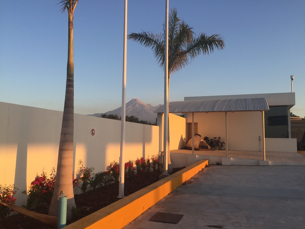 Our campsite at the Pemex in Alcaraces