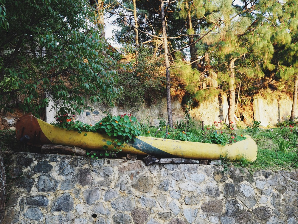 Canoe planter at El Granero