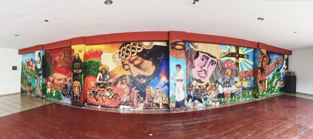 Mural depicting Tuxpan's history, pre and post European contact