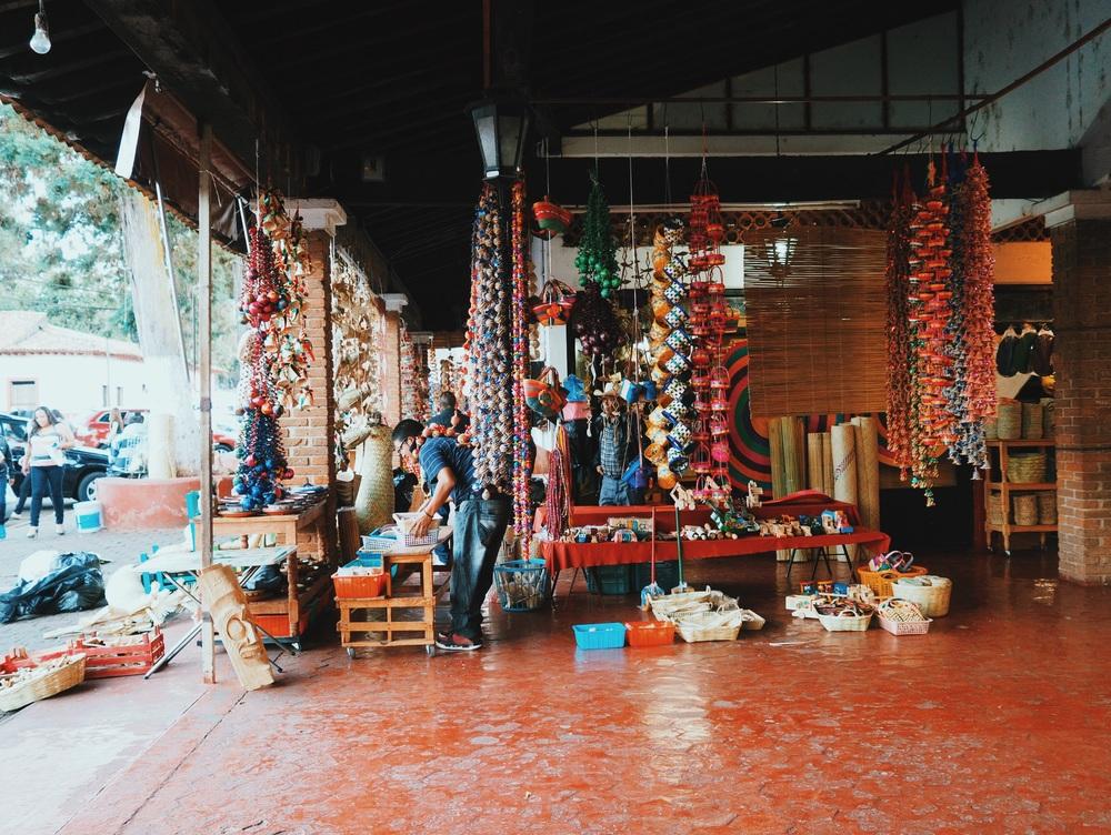 Basketweaving & woodwork in the Plaza at Tzintzuntzan