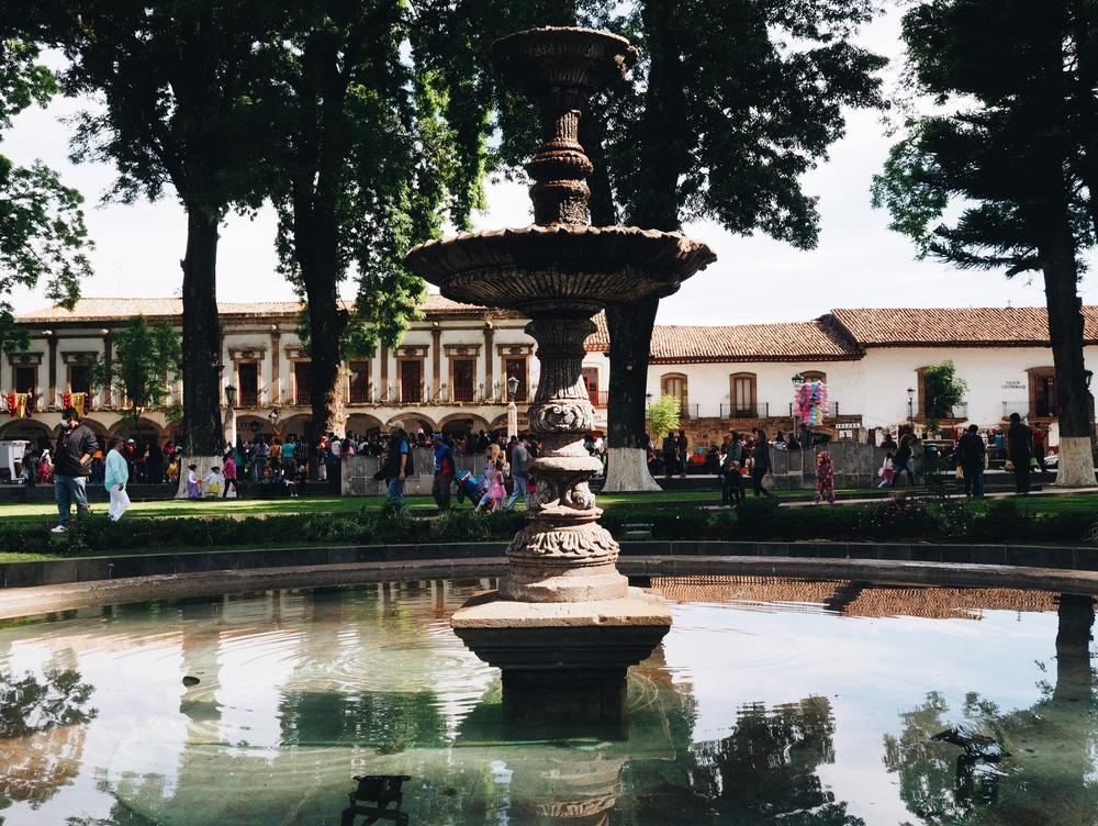 The main Plaza in Pátzcuaro