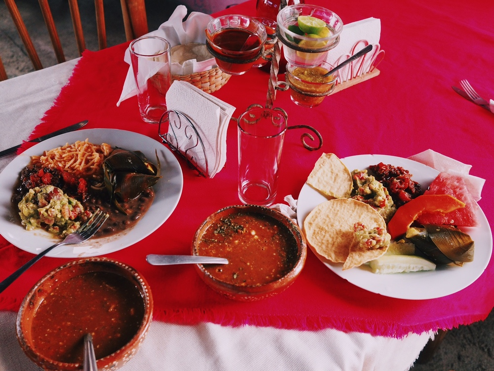 Comida tipica of Michoacán – tamales, tostadas, beans & rice, guacamole and fresh fruit with tarascan soup on the side
