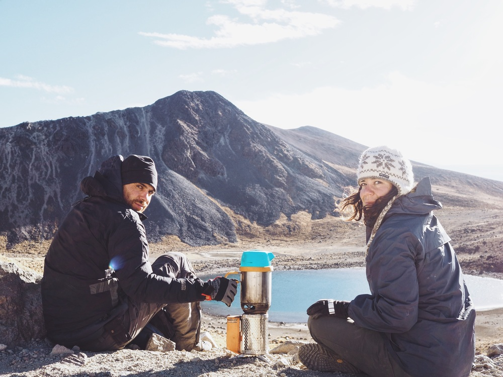 Making chai & breakfast, overlooking Laguna La Luna