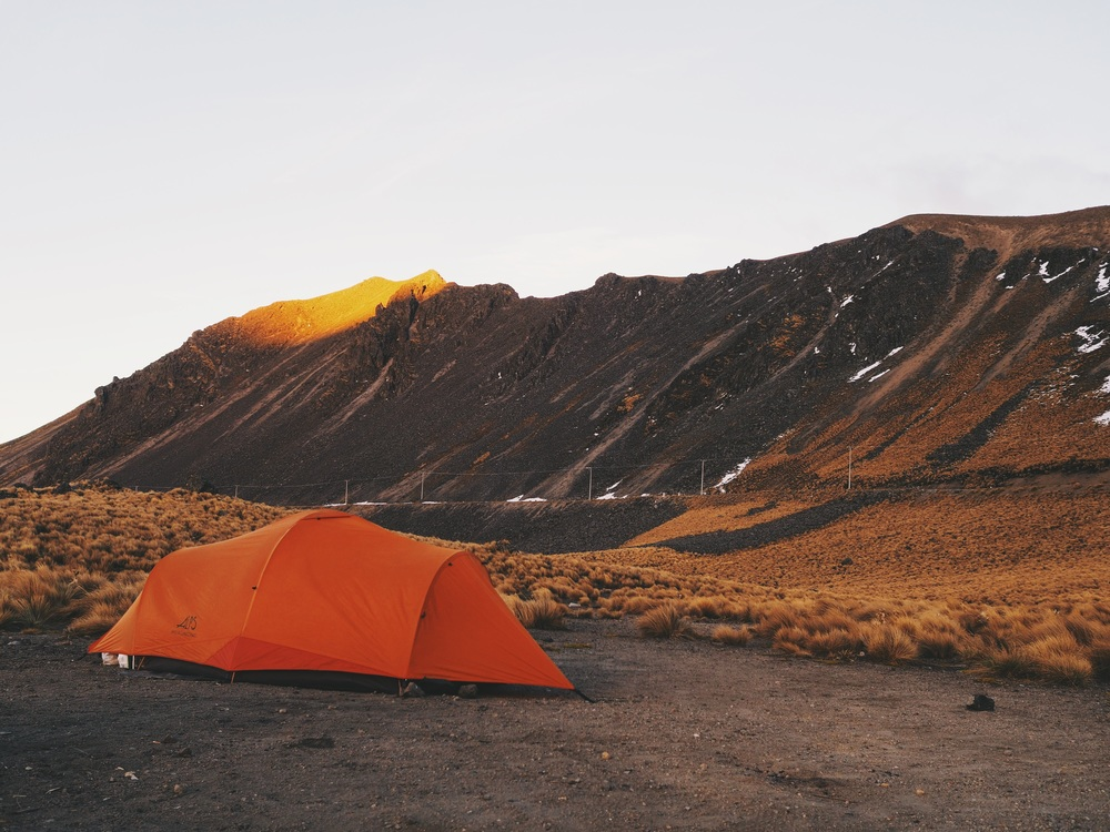 Making camp at Nevado de Toluca