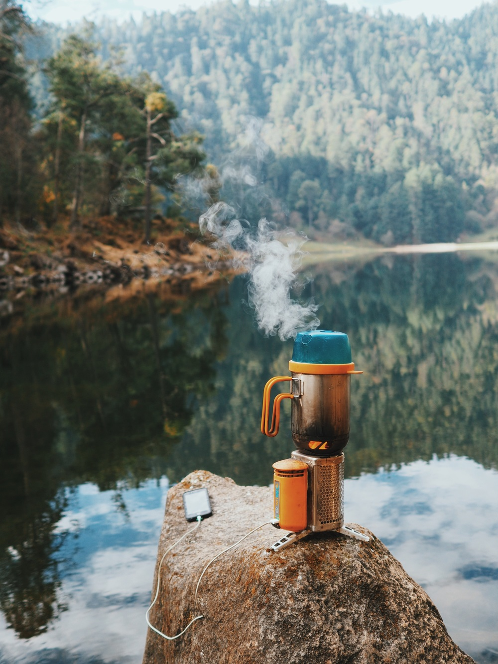 Lakeside breakfast with our BioLite CampStove