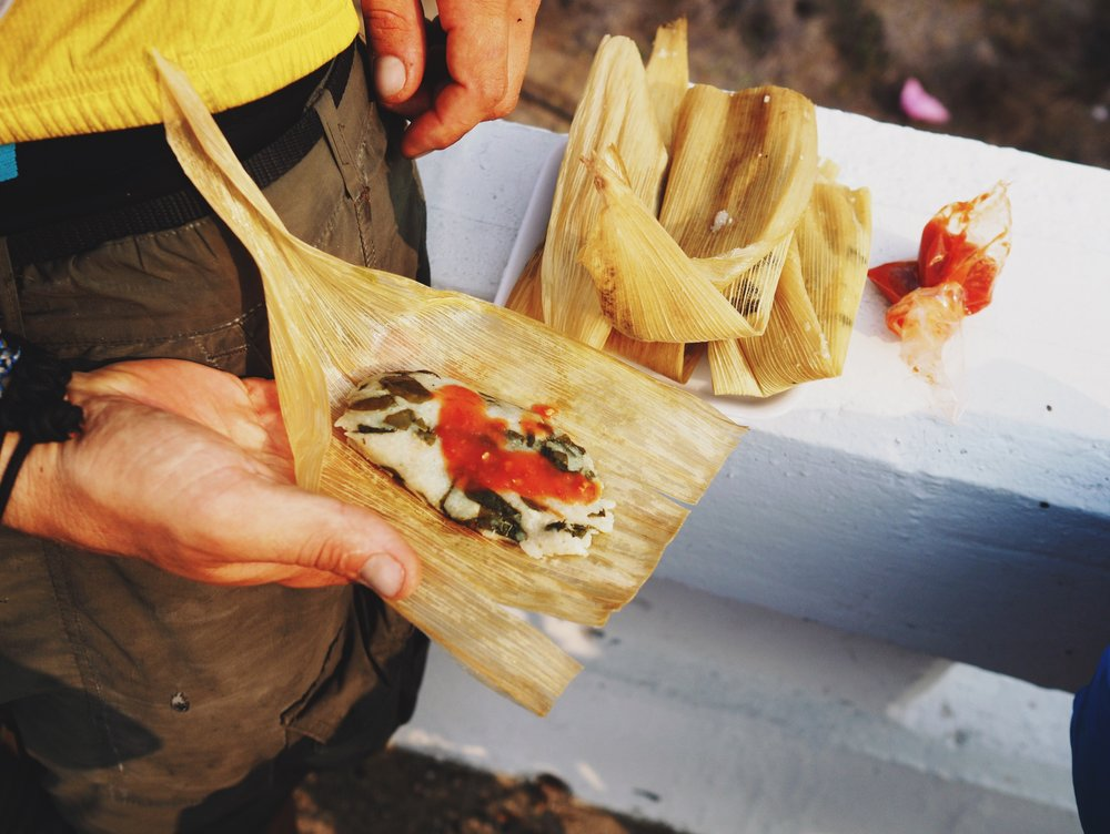 AMAZING tamales at the road block