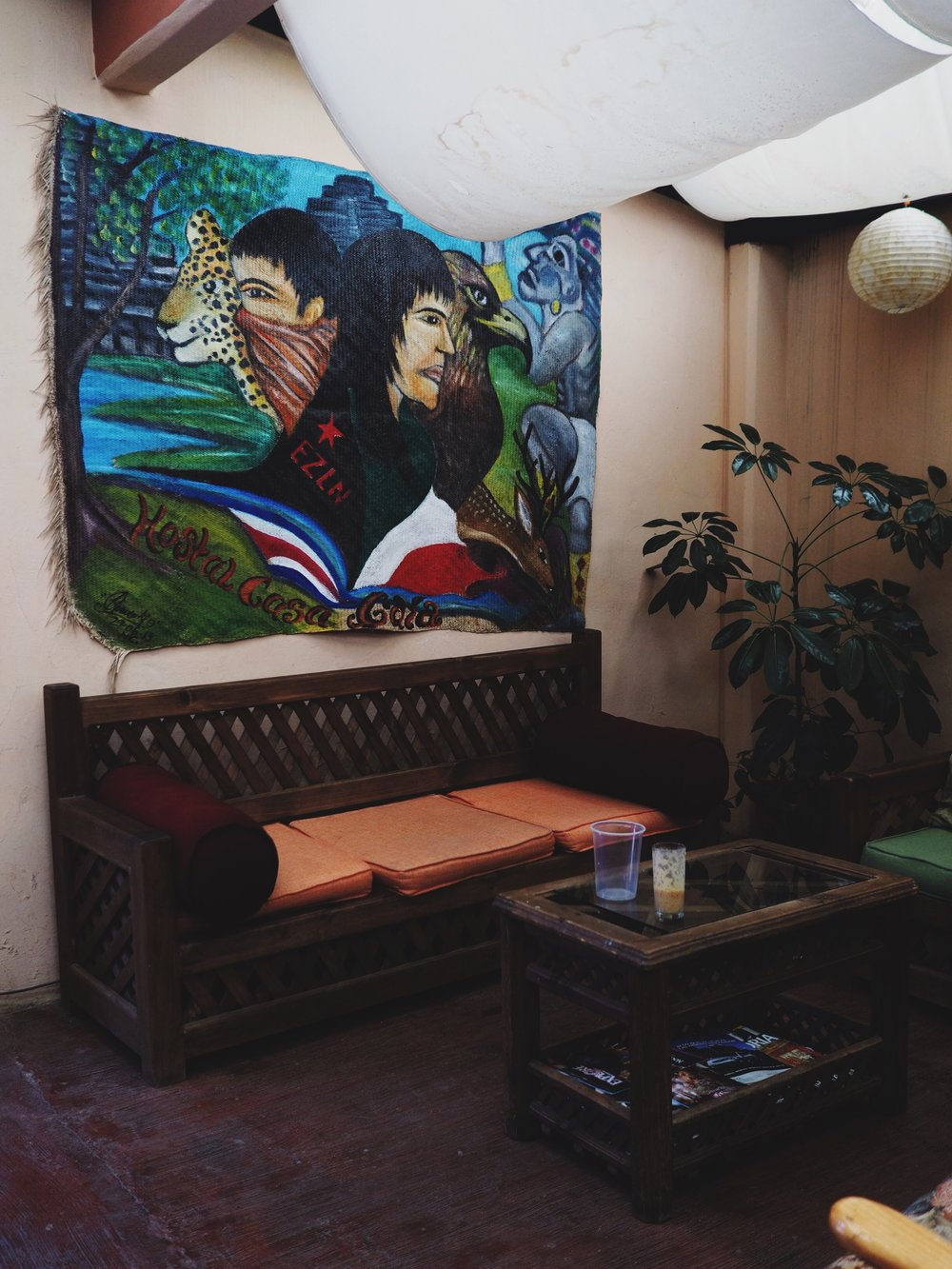 Casa Gaia's living room, complete with Zapatista painting