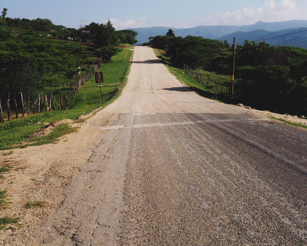 Sometimes dirt, sometimes pavement, sometimes both