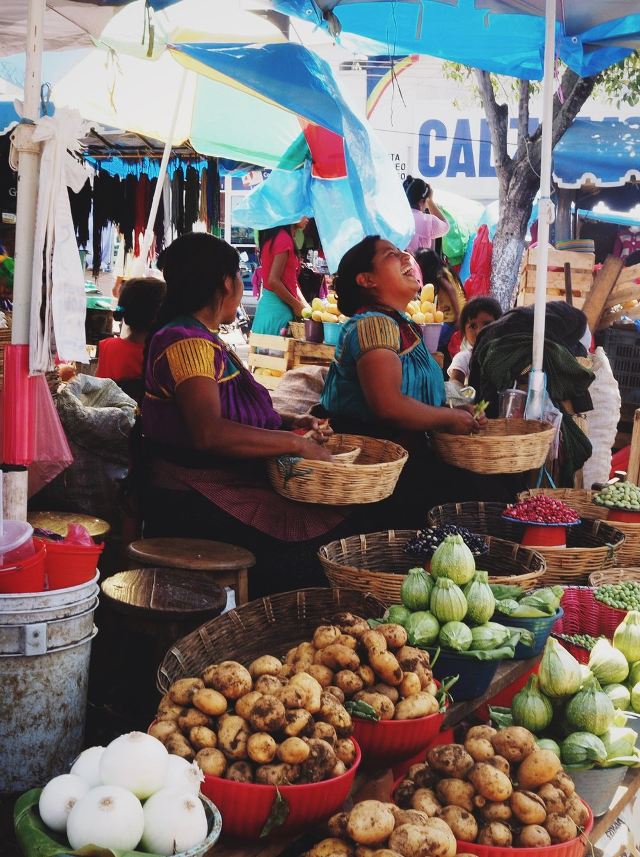 Women selling produce at the local market, San Cristóbal de las Casas