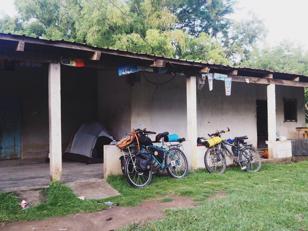 Our last night's campsite in Guatemala, at a family tienda