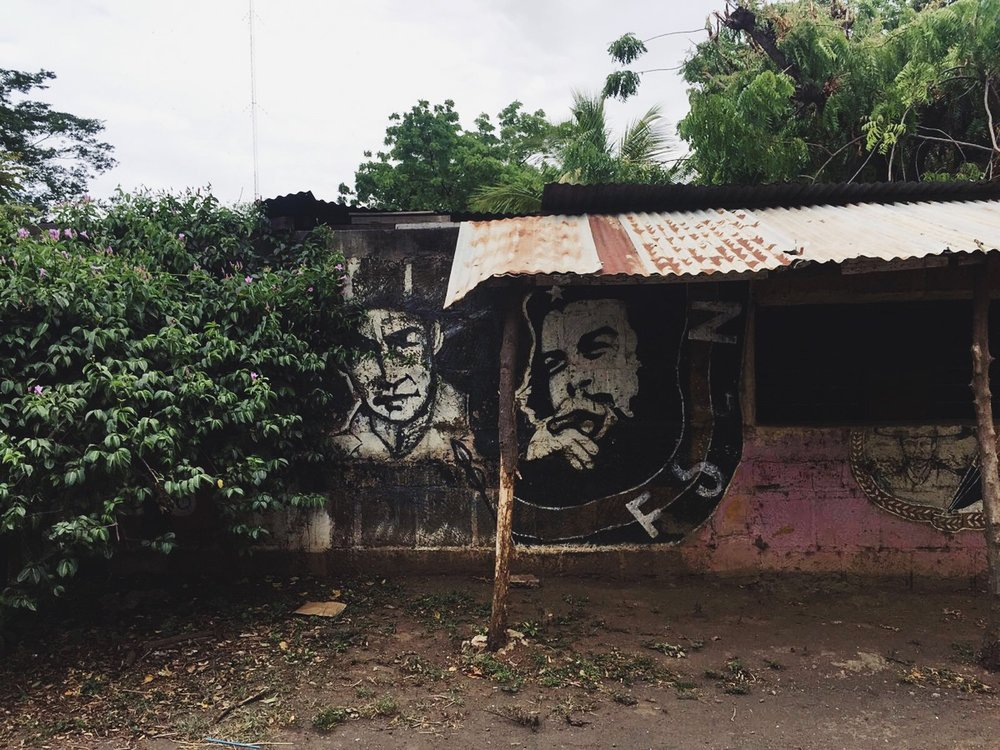 Revolutionary street art begins to pop up as we enter Nicaragua's capital city of Managua