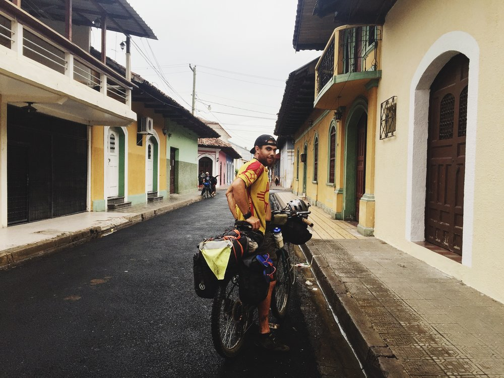Cycling into colorful colonial city Granada