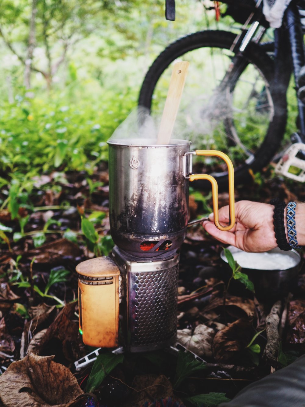 Our ever trusty BioLite Campstove cooking us up a tasty meal