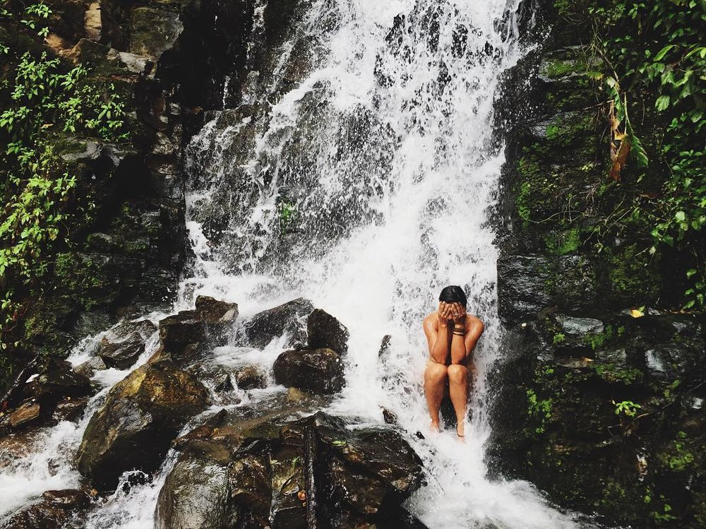 Bathing in a road-side waterfall, Costa Rica's mainland