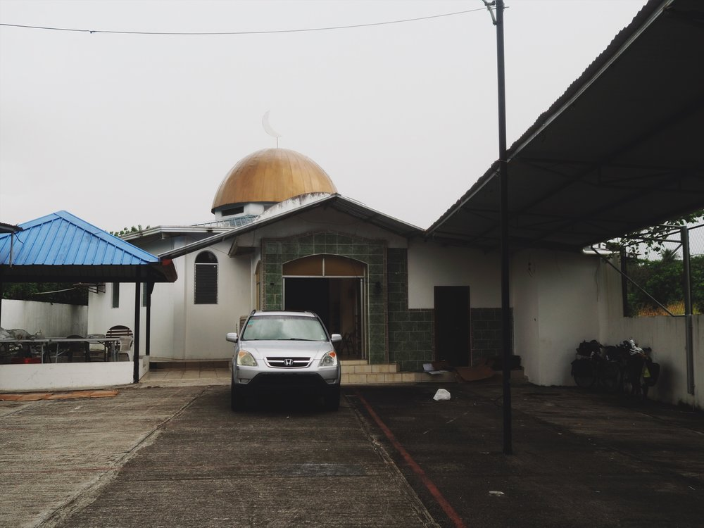 Pedaled to the mosque in Paso Canoas to give salaams and they fed us and put us up for the night!