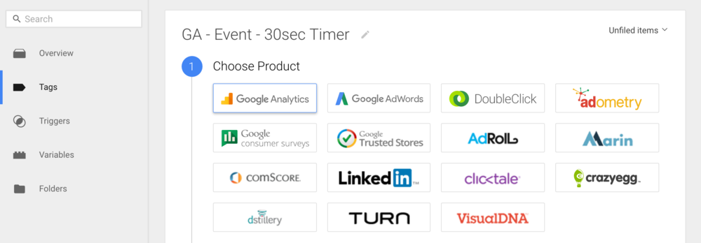Choose product page in Google Tag Manager