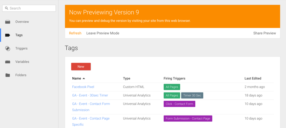 Screenshot of preview mode in Google Tag Manager