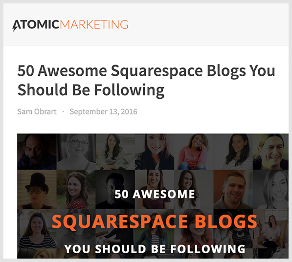 Blog header image for the 50 Best Squarespace Blogs