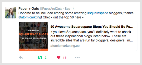 Twitter mention from Paper + Oats thanking for inclusion in 50 Awesome Squarespace Blogs post.