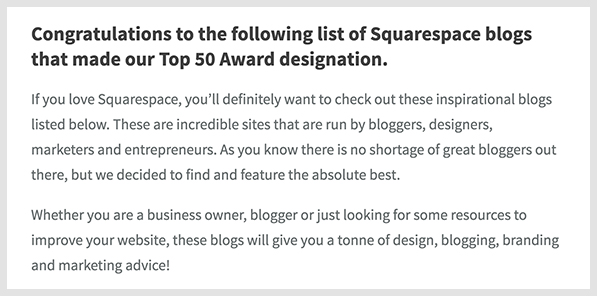 "Screenshot of the AwardsBait introduction we used for ""50 Awesome Squarespace Blogs"" post"